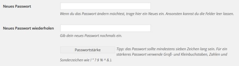 Wordpress Neues Passwort
