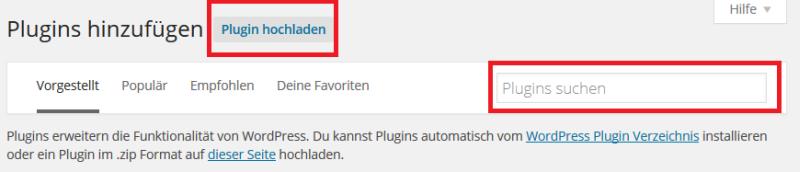 Wordpress Plugin hinzufügen