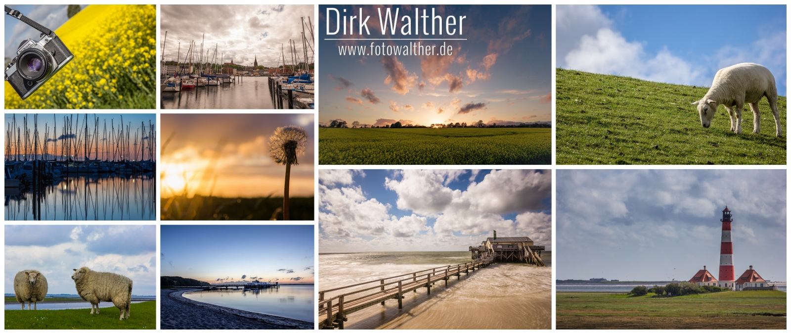 Collage: Langballig, Flensburg, St. Peter-Ording