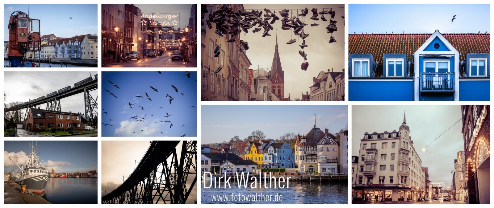 Collage: Sonderborg, Flensburg, Rendsburg