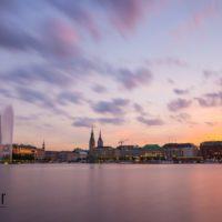 Binnenalster Hamburg im Sonnenuntergang